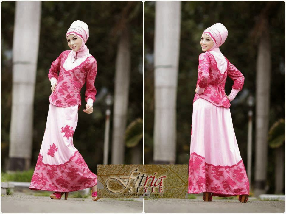 model baju pesta muslim bahan brokat