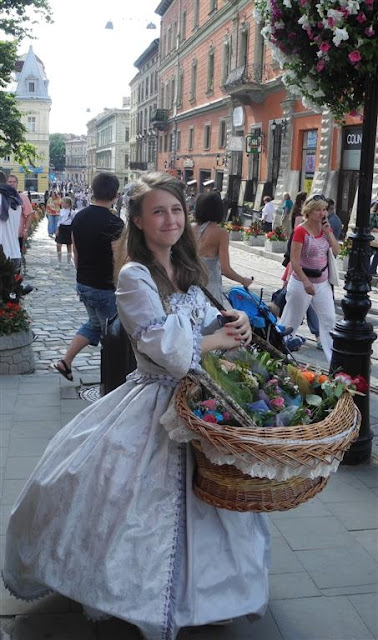 Pretty Girl Is Selling Flowers, Lviv, Western Ukraine