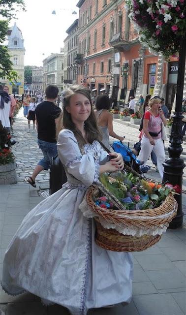 Pretty Girl Is Selling Flowers, Lviv, Western Ukraine
