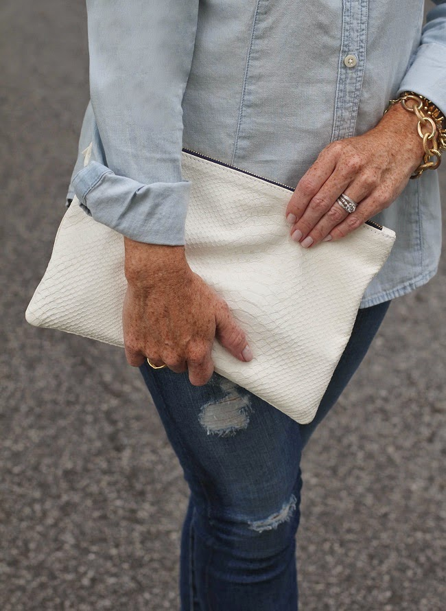 clare v white clutch, loren hope gold link bracelet