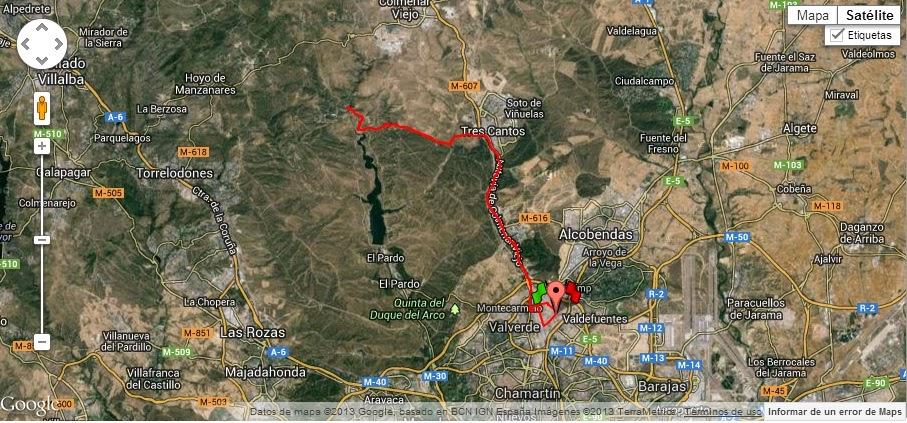 Mapa de la ruta desde Las Tablas hasta el puente de la Marmota