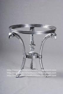 mebel klasik mewah finishing cat silver meja ukir silver painted meja bulat ukir jepara