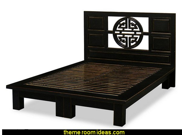 Hand Crafted Yuan-Yuan Longevity Design Elmwood Platform Bed