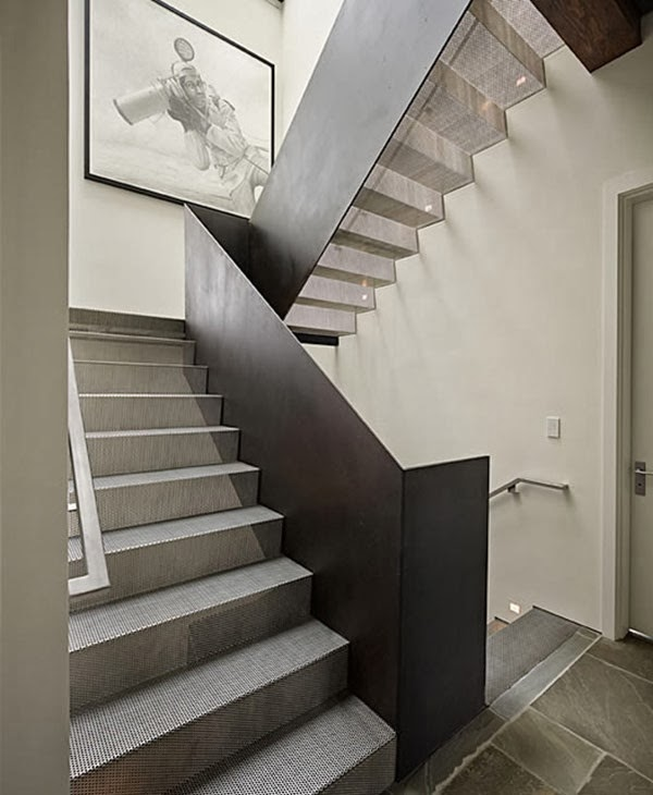 metal stairs and stair lighting