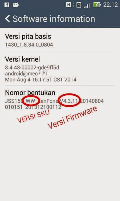 Cek Versi Firmware Asus Zenfone 4