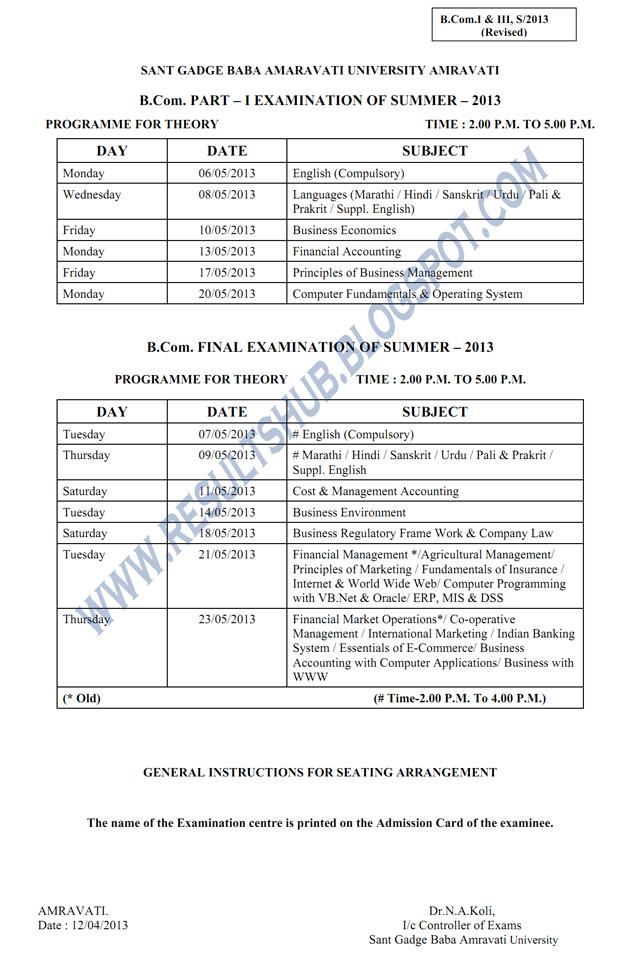 BCom Part 1, Final year revised 2013 SGBAU timetable