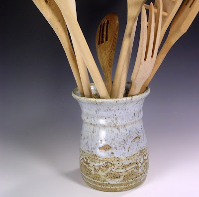 ceramic utensil holder - stoneware
