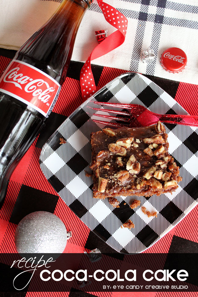 coca cola cake recipe, coke bottles, plaid plate, how to make coca cola cake