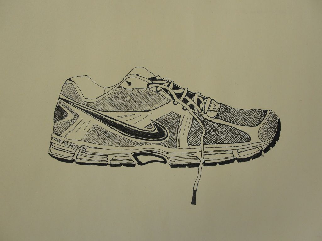 Line Drawing Shoes : Ashley s art contour shoe drawing