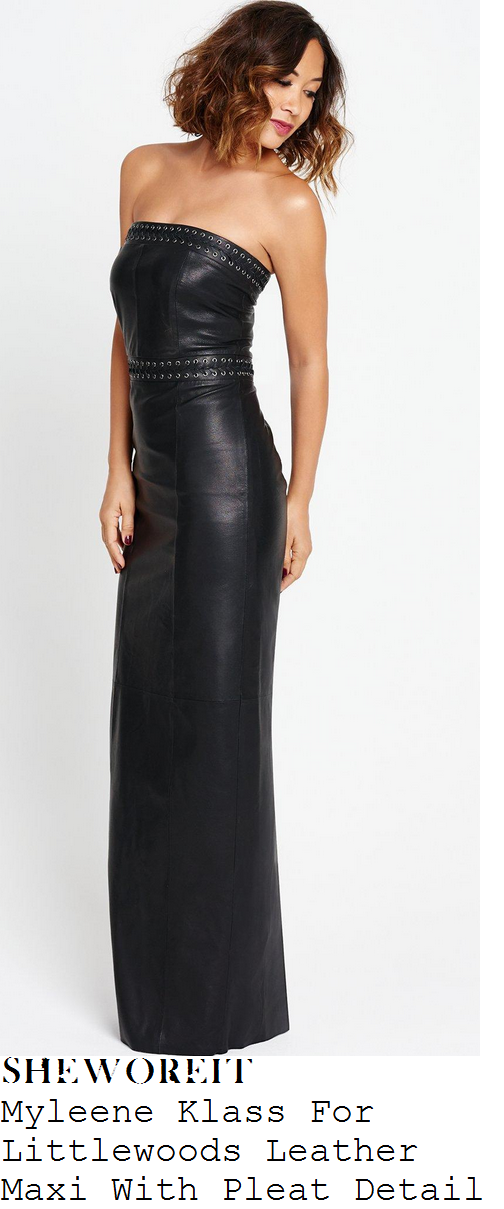 myleene-klass-black-strapless-eyelet-leather-maxi-dress-pride-of-britain