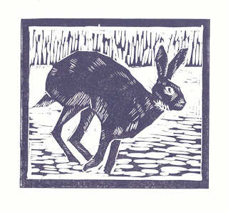 Hare linocut print