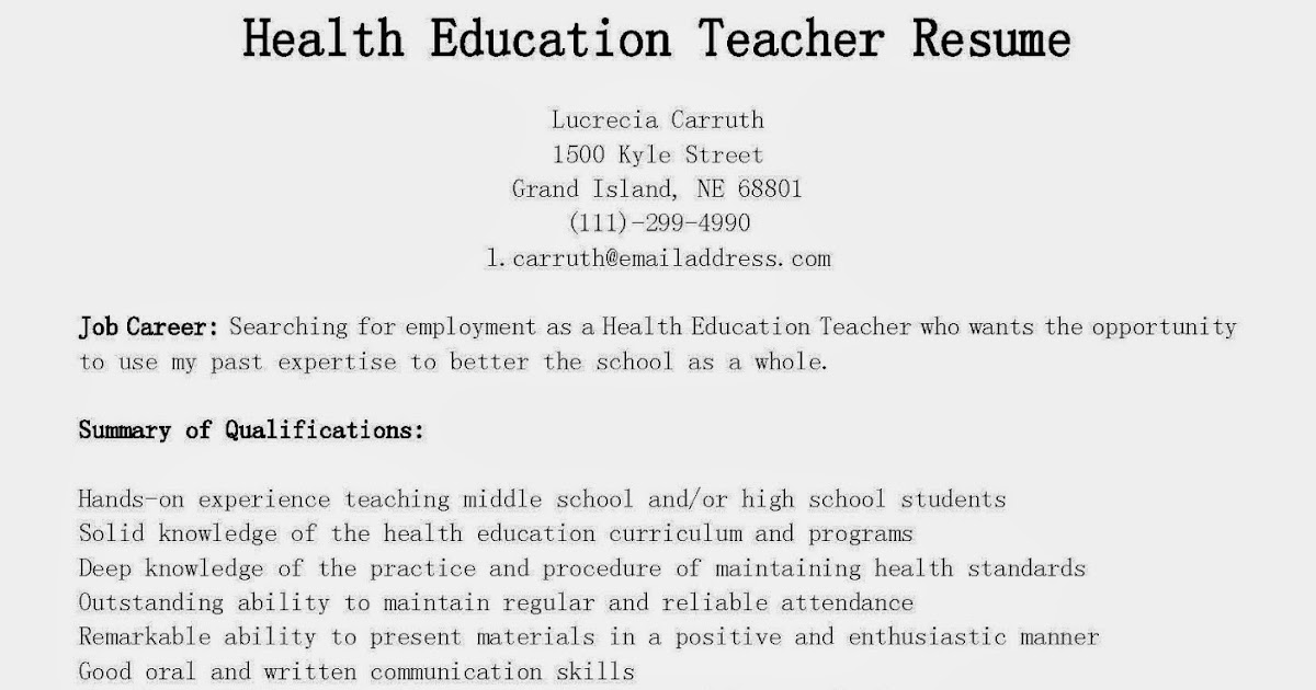 resume samples  health education teacher resume sample