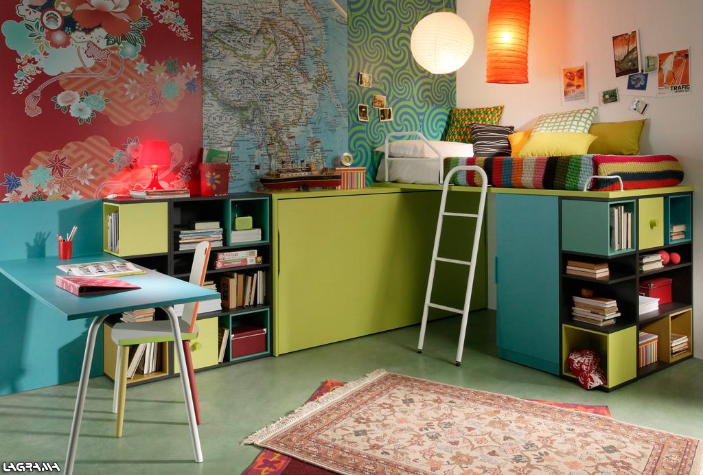 Dormitorios con camas abatibles literas abatibles for Dormitorio juvenil cama alta