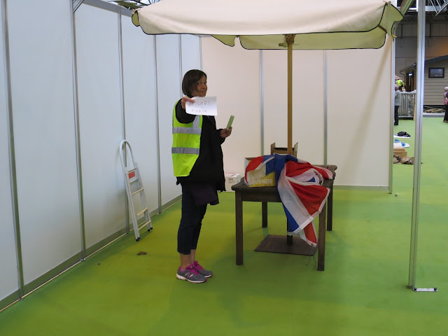 Carole of Tuckshop Flowers, setting up at BBC Gardeners' World Live 2015
