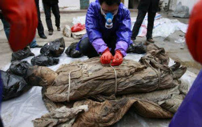 Well-preserved Ming Dynasty mummy found. Ming Dynasty mummy found in Taizhou city China. Latest history discovery in the world of antropology works and research