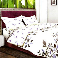 Sprei Solace Set Bed Cover Malikha - Putih/Ungu