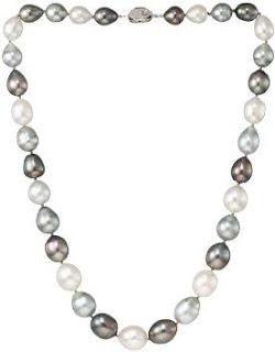 Baggins Black White Gray Multicolor Baroque South Sea, Tahitian Pearl Necklace
