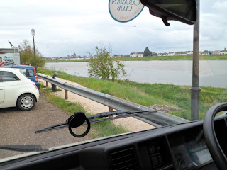 Our wild camping spot beside the river in Blois