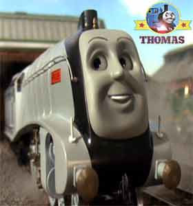 Thomas and friends Gordon the tank engine found huge shinny silver Rail Europe train Spencer express