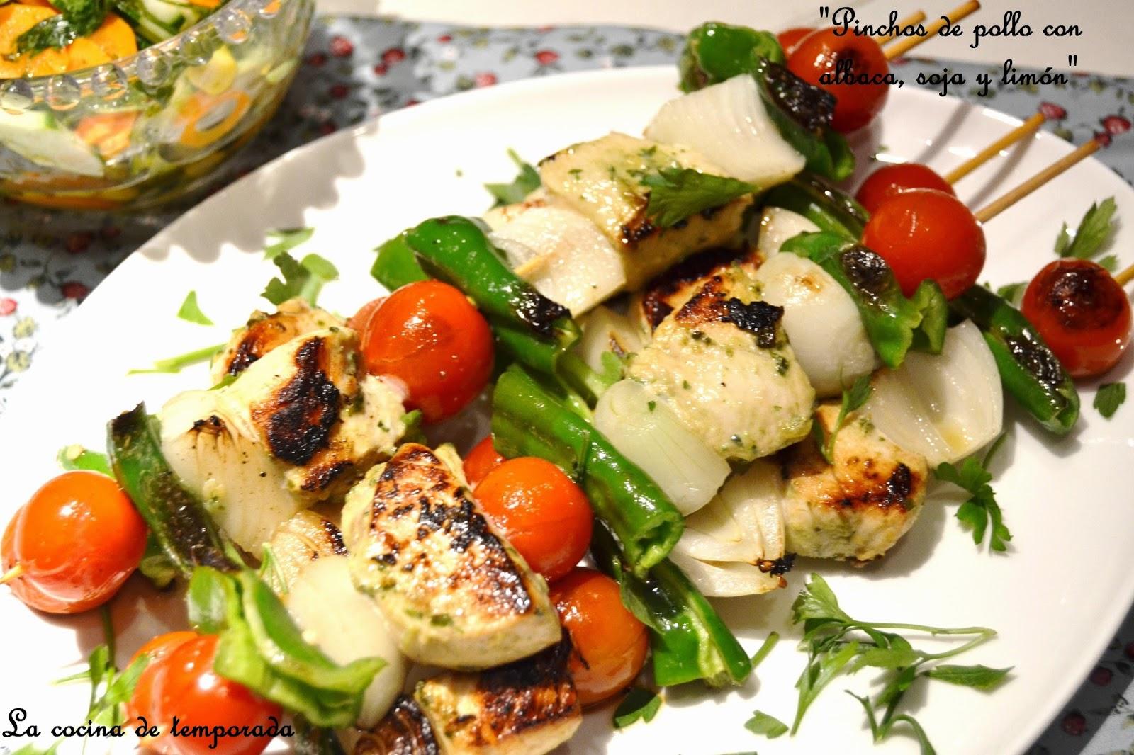 La cocina de temporada pinchos de pollo con albaca soja - Como preparar pinchos de pollo ...