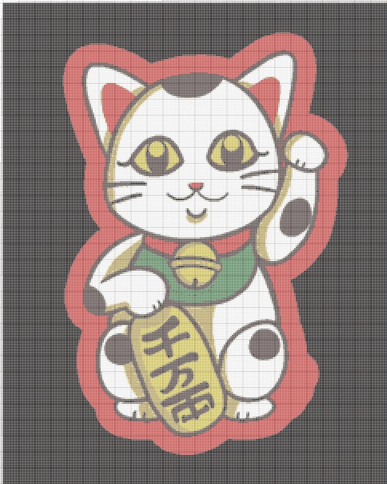 Gambar Pola Kristik Kucing Keberuntungan - Maneki Neko