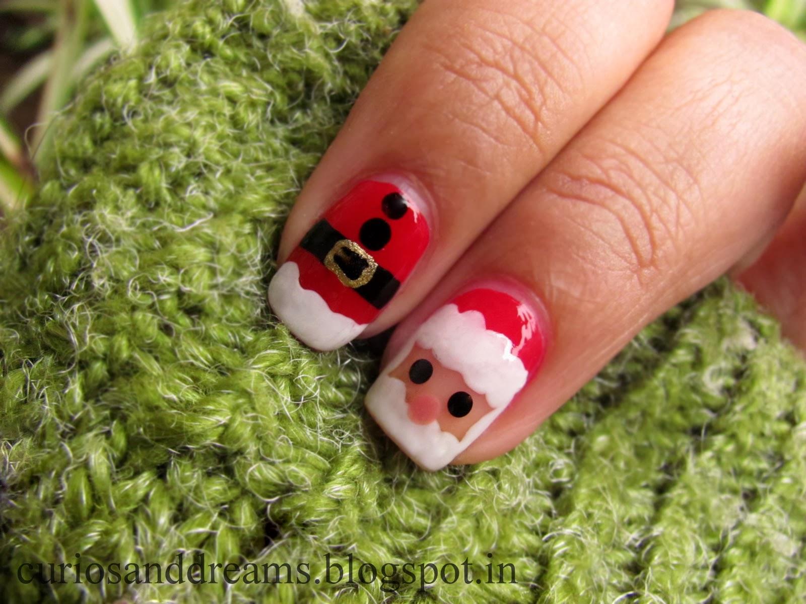 Chirstmas Nail Art designs, Santa nail art