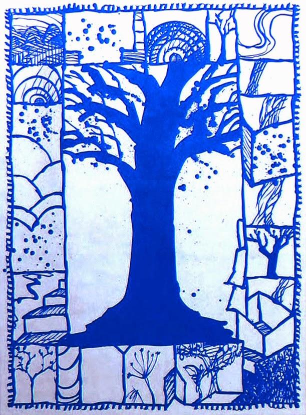 Connu kART à voir: n°140 L'Arbre bleu (2000)Pierre Alechinsky ZI48
