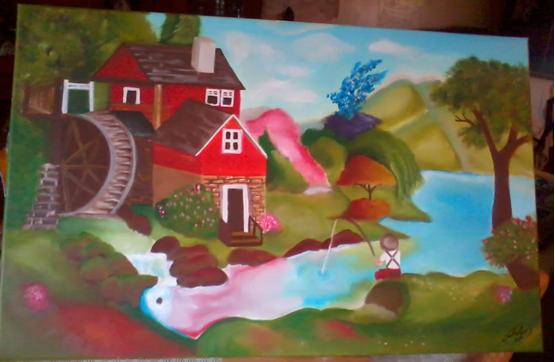 Quadro a óleo pintado pela minha filhota - Paisagem campestre