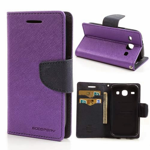 Mercury Goospery Fancy Diary Leather Case for Samsung Galaxy Core I8260 I8262 - Purple