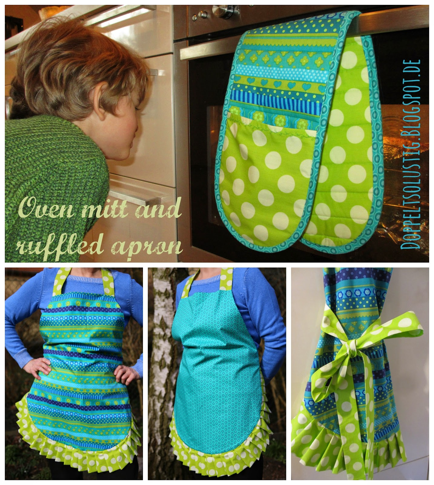 Oven mitt and ruffled apron | Twice the Fun