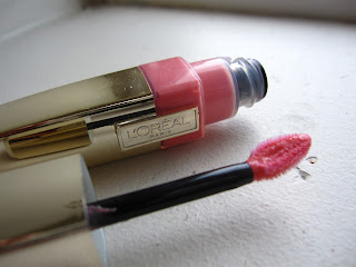 l'oreal shine caresse wet stain gloss review swatch pink rebellion 183