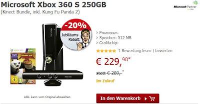 20 Jahre Alternate: Xbox 360 Bundle mit Kinect, Kung Fu Panda 2 und 3 Monate Xbox Live Gold für 236,85 Euro
