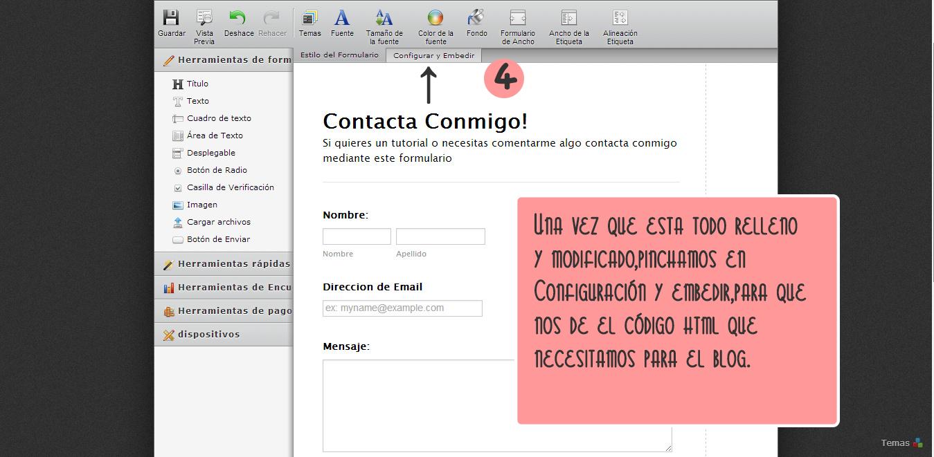 crear formulario de contacto para el blog Blogger jotform