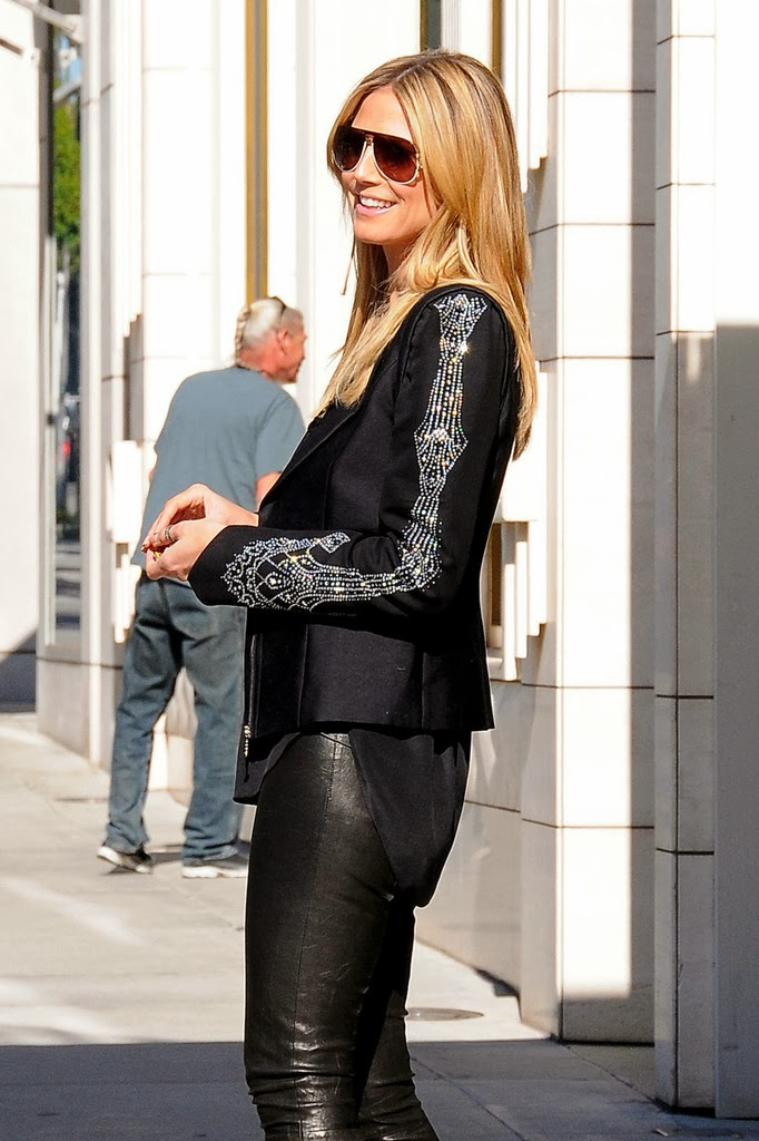 heidi klum heidi klum wears leather pants out in beverly hills 2 12 13. Black Bedroom Furniture Sets. Home Design Ideas