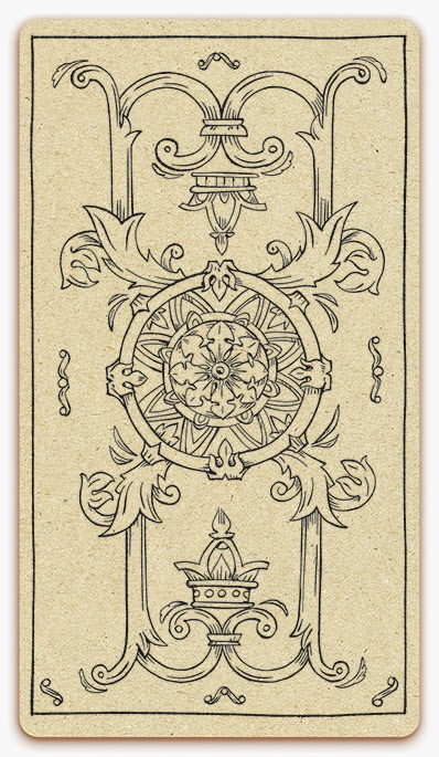 The Ace of Coins card - inked illustration - In the spirit of the Marseille tarot - minor arcana - design and illustration by Cesare Asaro - Curio & Co. (Curio and Co. OG - www.curioandco.com)