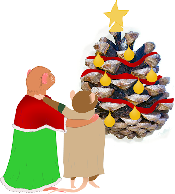 Image: Jane the vole and Frank the mouse gaze upon a pinecone decorated like a Christmas tree. Jane wears a green dress and a red shawl, while Frank wears a trenchcoat.
