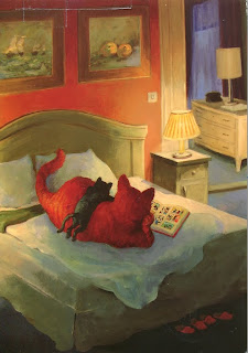 two cats reading a book on a bed illustration by Rudi Hurzlmeier