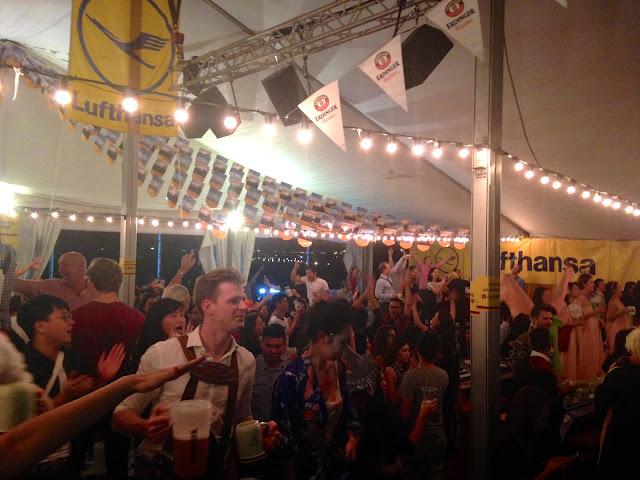 Inside the tent at Marco Polo German Bierfest, TST, Hong Kong on Halloween
