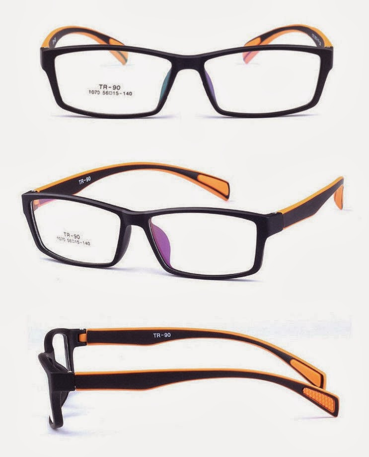 TR-90 Eyeglass Frame matte black frame orange temple Men Women Eyewear Optic RX