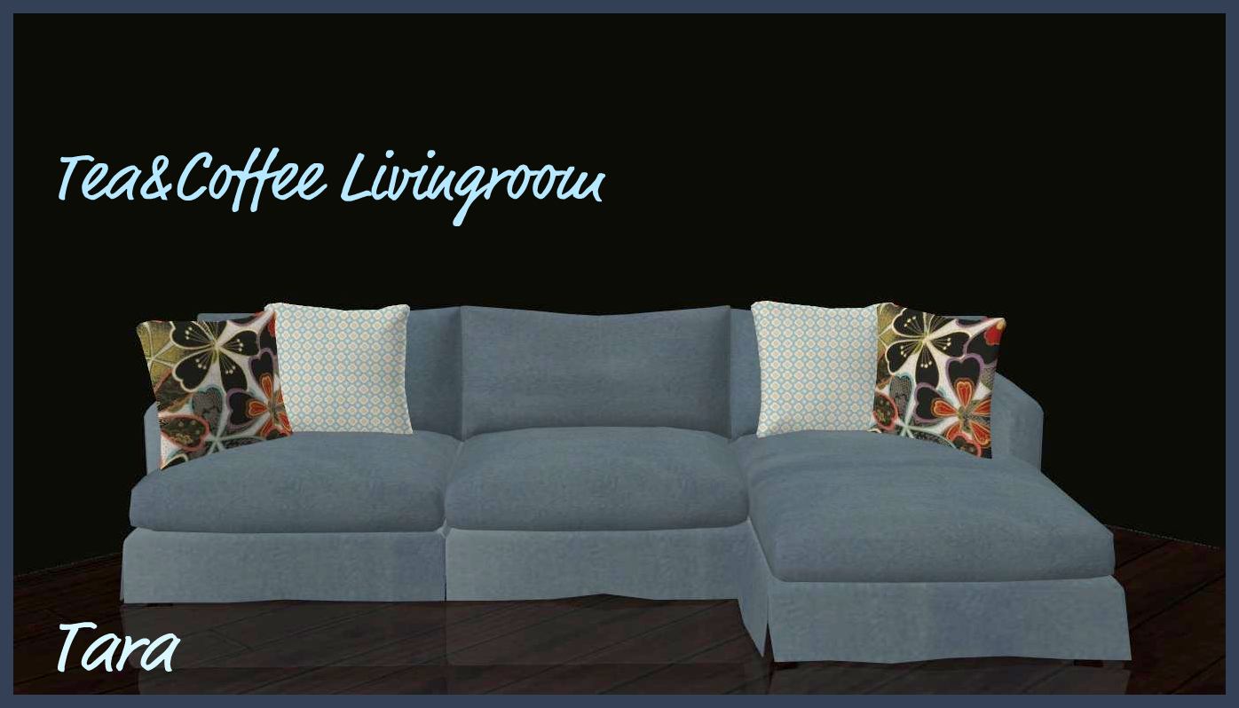 Sims 2 creations by tara teacoffee livingroom recolors for Sims 3 sectional sofa download