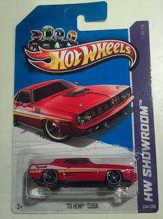 Hot wheels toy red plymouth barricuda in package