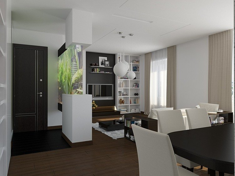 Clever design ideas apartment interior modern classic brown white theme-2