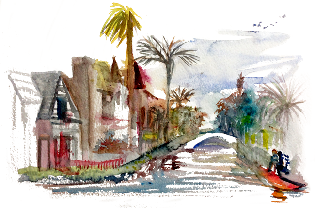 "Shiho Nakaza ""Los Angeles"" sketch sketching sketchcrawl Venice ""Venice Canals"" watercolor"
