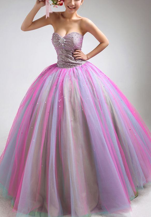 colorful ball gown prom dress