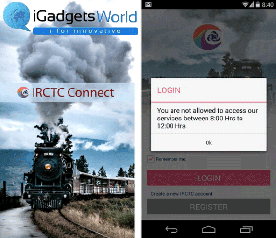 IRCTC Connect Login Barred