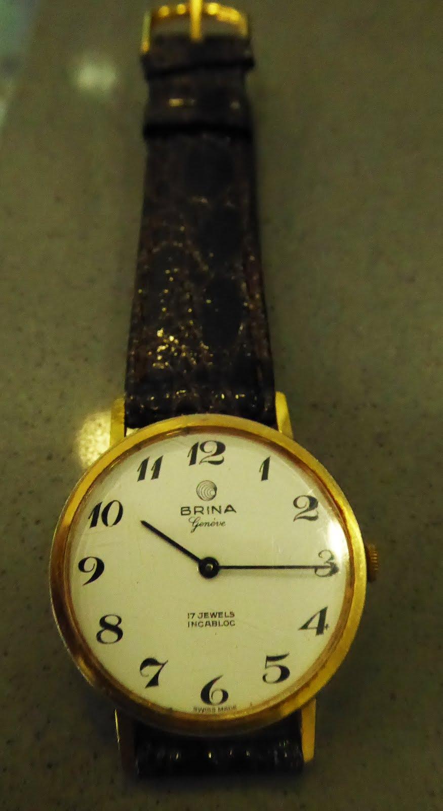 Reloj antiguo, marca suiza Brina, chapado,