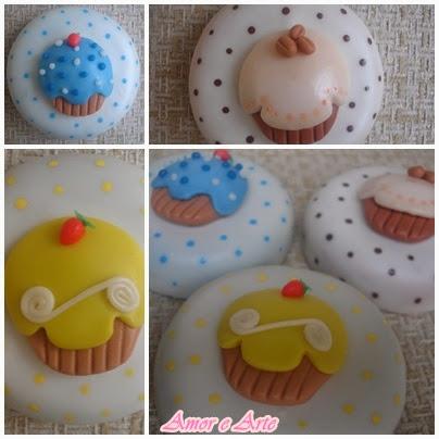 Tampa para pote de vidro, cupcakes em biscuit