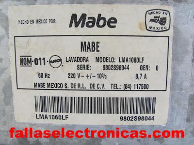 Lavadora mabe 6 y 12 kilos desmontaje despiece fallaselectronicas