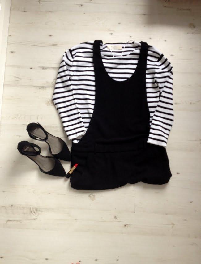 zara breton top, zara black dungarees, asos sonic heels black