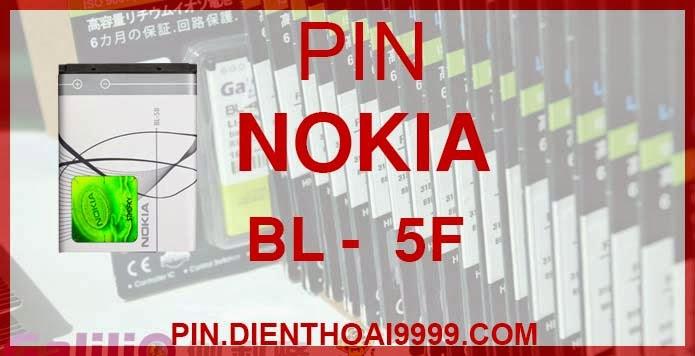 Pin Nokia BL 5F - Pin Nokia 5F chính hãng / Pin Galilio bl 5f dung lượng cao. - Pin bl 5f chính hãng giá 150K - Pin bl 5f dung lượng cao 1300 mAh giá 130K - Bảo hành: 6 tháng  - Pin tương thích với điện thoại Nokia  6210si/ 6210N/ 6210S/ 6260S/ 6290/ 6710N/ C5-01/ E65/ N93i/ N95/ N96/ N98/ N99/ X5-00/ X5-01  Thông số kĩ thuật: - Pin BL 5F được thiết kế kiểu dáng và kích thước y như pin nguyên bản theo máy, Pin tiêu chuẩn, chất lượng như pin theo máy. - Kích thước: 46 mm x 40 mm x 5 mm - Dung lượng: 1300 mah - Điện thế: 3.7V - Công nghệ: Pin Li-ion Battery  Mô tả sản phẩm: - Pin Galilio nhờ nghiên cứu và phát triển công nghệ lithium nên đã đạt được pin dung lượng cao nhất cho phép (từ 1,5- 2 lần) nhưng vẫn đảm bảo được chất lượng cao, đã vượt qua nhiều tiêu chuẩn chất lượng như ISO 9001, ISO 1400I, CERTIFICATED, hãng cũng ứng dụng Công Nghệ an toàn mà những hãng pin khác không có được: Controller IC, Control swithches, Temperature Fuse.. - Thiết kế kiểu dáng và kích thước y như pin nguyên bản theo máy, thuận tiện và dễ dàng thao tác, pin dung lượng cao cung cấp đủ nguồn điện cho máy sử dụng được trong thời gian dài, có thể mang đi bất cứ đâu để phòng khi pin của máy bạn hết mà không có điều kiện để sạc. - Cho phép bạn giữ các cuộc nói chuyện và bảo đảm cho bạn không bỏ lỡ các cuộc gọi điện thoại quan trọng - Pin sạc bằng cách gắn vào điện thoại và sạc như pin gốc - Sản phẩm đạt tiêu chuẩn tuyệt đối về an toàn cháy nổ - Bảo hành đổi pin mới trong 6 tháng.  GIAO HÀNG VÀ BẢO HÀNH TẬN NHÀ  Quý khách có nhu cầu mua pin,  hãy liên hệ với chúng tôi:  0904.691.851 - 0976.997.907  Website: http://pin.dienthoai9999.com Mua số lượng lớn: 0942299241  - Hướng dẫn sử dụng, bảo quản pin: http://pin.dienthoai9999.com/p/huong-dan-su-dung-pin - Quy định bảo hành: http://pin.dienthoai9999.com/p/quy-dinh-bao-hanh-pin - Khách hàng góp ý: http://pin.dienthoai9999.com/p/khach-hang-gop-y